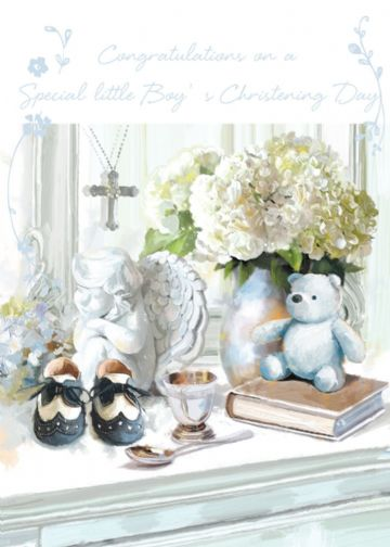 "CHRISTENING CARD BABY BOY ""HIS CHRISTENING DAY"" SIZE 4.75 X 6.75 INCH GHCH114"